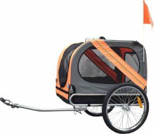 Duvo+ Fietskar Pet trailer 80x56,5x63cm Grijs Oranje