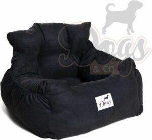 Dogs&Co Honden autostoel Royal Zwart - Zeer luxe hondenmand voor in de auto